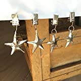 The Cape Cod Star Clip Weights for Table Cloths, Set of 4, for Outdoor Dining, Rustic Silver Finish Over Iron, Metal,2 3/8 inches, By Whole House Worlds