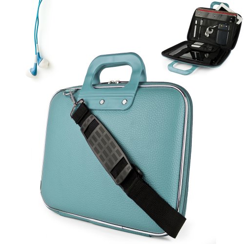 Uniquely designed SumacLife Brand Blue Ultra Durable Reinforced 12 Inch Cady Hard Shell Sports Bag for all models of the Sony VAIO T Series 13.3-Inch Touch Ultrabook (Touch, Non-Touch, VAIO T13 Series, SVT13126CXS, SVT13124CXS, SVT13128CXS, Windows 8, Silver) + Earphones
