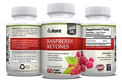 Vitakore Premium All Natural 100% Pure Raspberry Ketones 500 mg - Best Fat Burner - Double-Strength - 60 Count Veggie Capsules