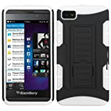 MyBat ABB10HPCSAAS912NP Advanced Rugged Armor Hybrid Combo Case with Kickstand for BlackBerry Z10 - Retail Packaging - Black/White Car