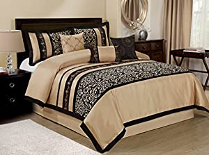 Bednlinens 7 Piece Odessa Printed Scroll Comforter Sets Queen size Black/Tan