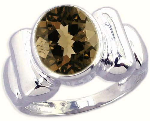 Sterling Silver Contoured Ring with Large Oval Genuine Gemstone-Smoky Quartz-in full,half,quarter sizes from 5 to 9_5.5