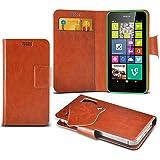 (Brown) Nokia Lumia 520 Schutzhülle Mega Dünn Faux Leder Saugnapf Tasche Case Cover hülle mit Kredit- /Debitkarte Steckplätze Aventus