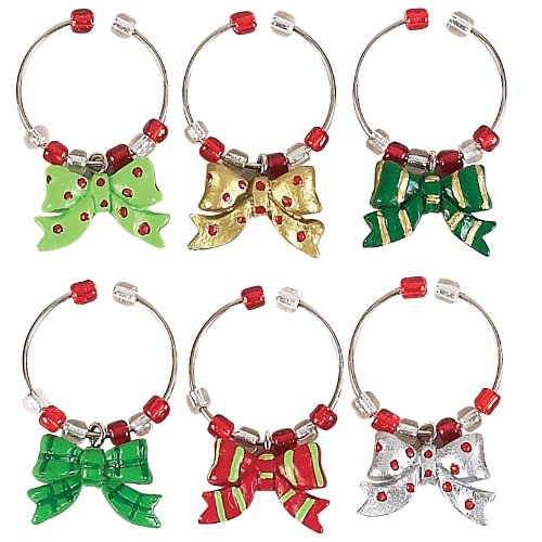Boston Warehouse Holiday Bows Wine Charms (Set of 6)
