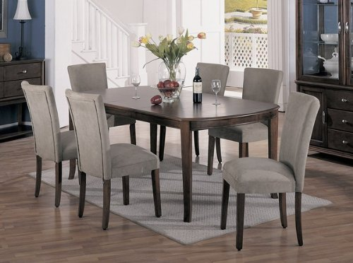 7pc cherry brown finish dining table taupe parson chairs set sale