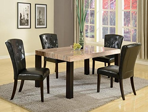 Brand New 5-pc Misha Dining Table (w/Marble Top) and 4 Dining Side Chair Set