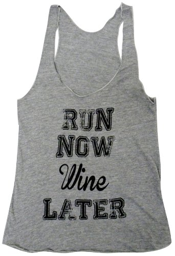Friendly Oak Women's Run Now Wine Later Fitness Tank top – M – Grey