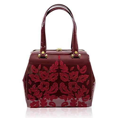 91c28250dc1d Valentino Orlandi Italian Designer Burgundy Embroidered Leather ...