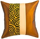 Avarada Striped Spiral Decorative Throw Pillow Cover 16x16 Inch Gold Beige