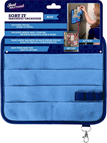 Magnetic Kitchen Fridge Organizer For Receipts, Menus, Notes, Keys And More! - Blue front-86095