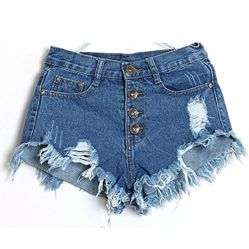 tongshi Sexy americani US Flag Mini Shorts Jeans Shorts denim vita bassa (28/M, Blu scuro)