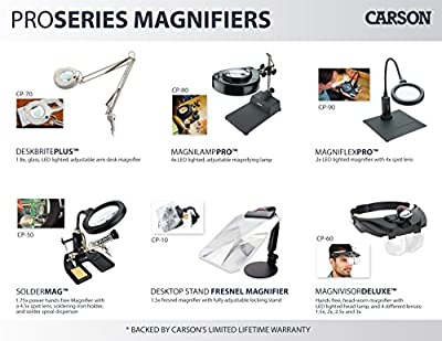 Carson Optical Pro Series MagniVisor Deluxe Head-Worn LED Lighted Magnifier with 4 Different Lenses