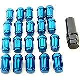 選べる 色々 ドレスアップ 盗難 防止 ホイール ロック ナット 外花型 袋タイプ M12 P1.5 20個 セット (ブルー)