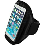 """iPhone 6 (4.7"""" 2014) Black Soft Padded Sports Armband Case for Jogging, Running, Gym Phone Cover with Key or Earphone Pocket by King of Flash"""