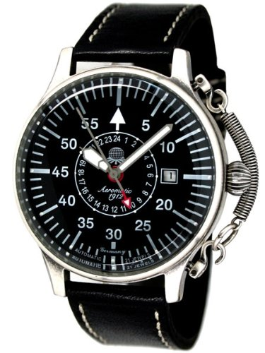 Aeromatic 1912 Automatic 24 Hour Watch, Black Dial and Spring Crown Guard A1395