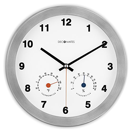 DecoMates Non-Ticking Silent Wall Clock with Built-In Thermometer Fahrenheit/Hygrometer, Modern Multiplex, White