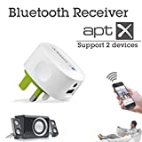 Multipoint Bluetooth 4.0 Bluetooth Adapter/Audio Stereo Receiver with aptX enhanced audio, for HD music streaming from iPad, iPhone, iPhone 6, iPhone 6 plus, Samsung Tab, Samsung galaxy note 3/note2/S5/S4, Google nexus 5/4 or any other Bluetooth enabled audio devices to hifi speakers, headphones, home stereo, car radio or other sound systems - Avantree Roxa UK plug