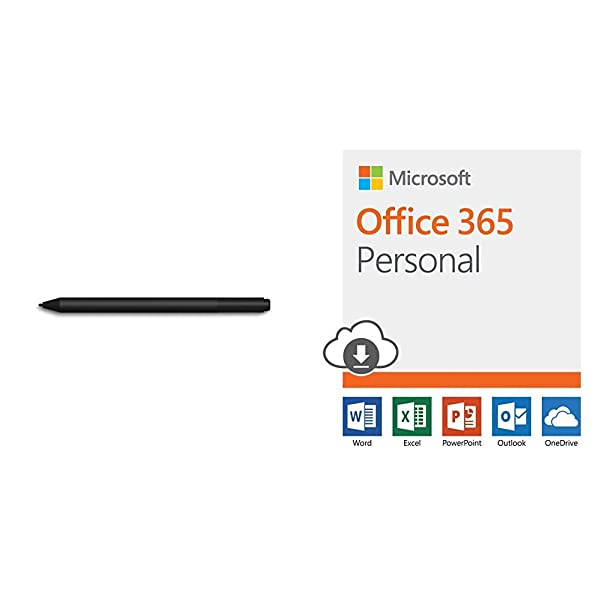 Microsoft Surface Pen, Charcoal Black, Model: 1776 (EYV-00001) with Office 365 Personal   12-month subscription, 1 person, PC/Mac Download (Color: black)