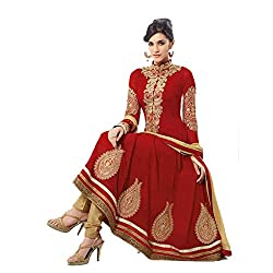 Siya Fashion women's Georgette Party Wear Unstitched Dress Material(si75_Red color)