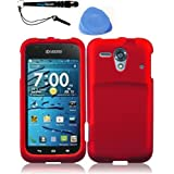 IMAGITOUCH(TM) 3-Item Combo Kyocera Hydro Edge C5215 Hard Plastic Rubberized Case Cover Phone Protector Faceplate - Red (Stylus pen, Pry Tool, Phone Cover)