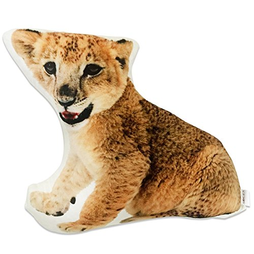 SOGES 3D Lion Shaped Cushion Decorative Cuddle Pillow Sofa Chair Back Pillows Plush Toy Chirstmas Gift