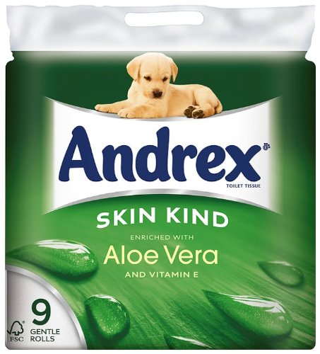 Andrex 9 Roll Aloe Vera Skin Kind 160 Sheets (Pack of 5)