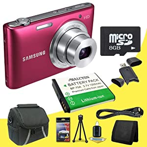 Samsung ST150F 16.2 MP Smart WiFi Digital Camera (Red) + BP-70A Replacement Lithium Ion Battery + 8GB microSD Memory Card + Carrying Case + SDHC Card USB Reader + Memory Card Wallet + Deluxe Starter Kit DavisMax Bundle