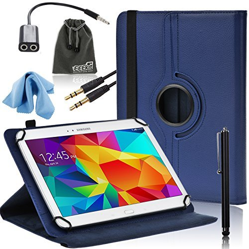 EEEKit 6in1 Starter Kit for 10 inch Smsung/iPad air/Dragon/Toshiba/LG Gpad tablet,PU Rotating Case Cover,Audio Cable,Earphone Splitter Adapter Cable (Universal Starter Kit For Ipad compare prices)