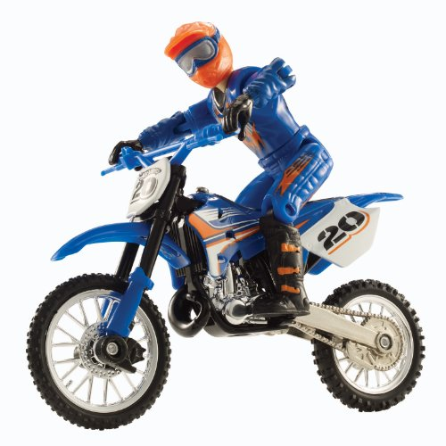 Hot Wheels Moto X No.20 Rider and Black Bike Figure, Blue