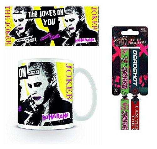 Set: Suicide Squad, Joker Ha Ha Tazza Da Caffè Mug (9x8 cm) E 1 Suicide Squad, Braccialetto (10x2 cm)