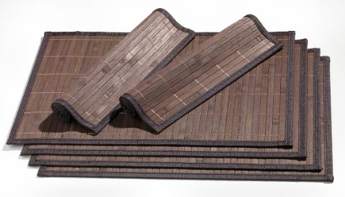 Ritzenhoff-Breker-357998-Platzmatten-Set-Bamboo-6-teilig-dunkelbraun