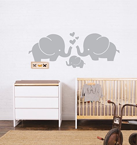 Cute Elephant Family With Hearts Wall Decals Baby