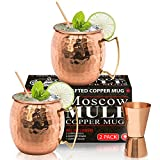 Moscow Mule Copper Mugs - Set of 2-100% HANDCRAFTED – Food Safe Pure Solid Copper Mugs - 16 oz Gift Set - BONUS Highest Quality Cocktail Copper Straws & Jigger - Christmas & New Year Gift