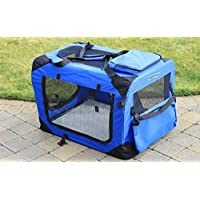 RayGar BLUE DOG PUPPY CAT PET FABRIC PORTABLE FOLDABLE STRONG SOFT CRATE CARRIER PET KENNEL CAGE LARGE 70 x 52 x 52cm - NEW (Large)
