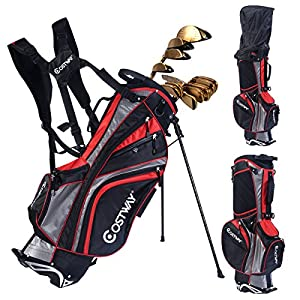Hyper Lite Golf Stand Bag w/Shoulder Strap Rain Cover Black & Red 6 Way Divider