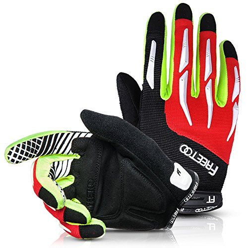 [Cycling Gloves] Freetoo Full Finger Biking/Riding Gloves - Breathable, Elastic and Protective - Ideal for Riding, Hiking, Climbing, Camping and More (Black and Red) (Boys Cycling Clothing compare prices)