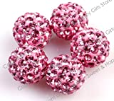 Lots Of Pave Shine Pink 10Mm Beads For Jewelry Making (10 Beads Per Lots)