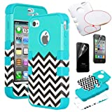 Pandamimi ULAK(TM) Unique Designed Hybrid High Impact Soft TPU + Hard PC Case Cover for Apple iPhone 4S 4 4G with Screen Protector (Follow the sky+Blue) Reviews