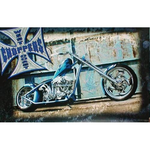 West Coast Choppers (Blue Flames Motorcycle) Poster Print   24 X 36