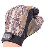 LIAMTU 3 Cut Finger Anti-slip Waterproof Fishing Hunting Gloves Camouflage Color
