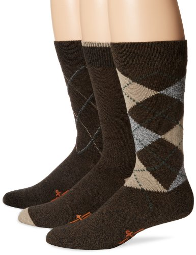 Dockers Men's 3 Pack Classics Metro Argyle Crew Socks, Brown, 10-13 Sock/6-12 Shoe
