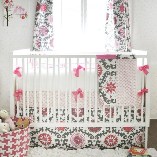 New Arrivals Ragamuffin Pink 3 Piece Crib Bedding Set, Grey front-170614