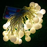 DLLL Warm White 4M 40 LED Ball Styled String Lights Battery Operated-ON/OFF/Flash Functions for Christmas,Partys,Wedding,New Year,garden,fence,patio,table,lawn Decorations,etc. (Warm White)