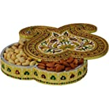 JaipurCrafts Double Kairy Aluminium, Wooden Decorative Platter (Multicolor)