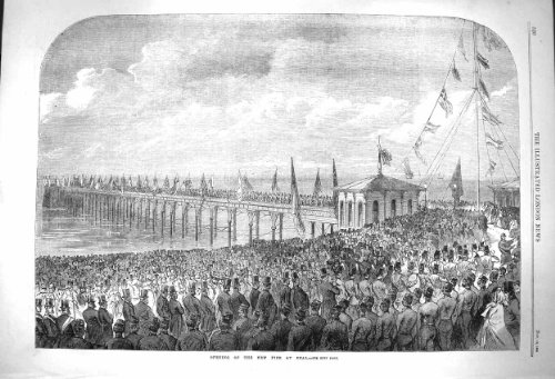 1864 Scene Opening New Pier Deal England Antique Print