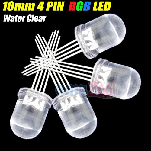 100Pcs X 10Mm Ultra-Bright 4 Pin Common Anode Rgb Led Red Green Blue