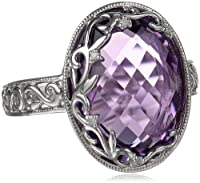 Sterling Silver Filigree Amethyst Diamond Ring (0.01 cttw, I-J Color, I2-I3 Clarity), Size 7 from JPI