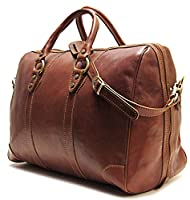 Floto Roma Duffle Saddle Brown Italian Leather Weekender Travel Bag