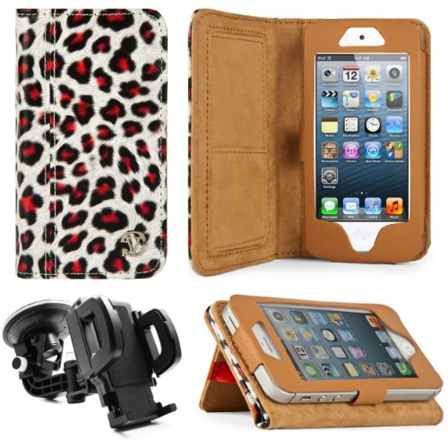 Special Sale Gold Leopard Design VG Faux Leather Standalone Case for Apple iPhone 5 & Apple iPod Touch 5 (Compatible with All Models) + Mirror Screen Protector+ Universal Windshield Vehicle Mount
