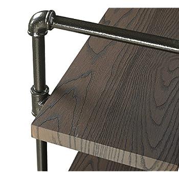 Homissue 4-Shelf Rustic Pipe Wall Shelves, 31.5-Inch Vintage Industrial Wall Shelf, Espresso-Brown